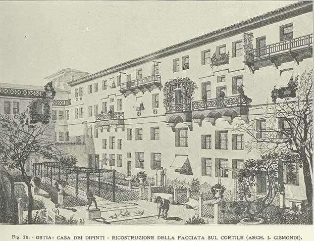 Reconstrucția Casa dei Dipinti, din:  ITALO GISMONDI: Le origini latine dell'abitazione moderna (II), 1923